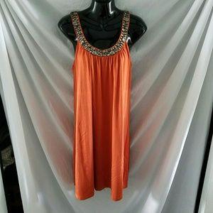 Final VELVET Swing Dress in Orange w/beaded neck